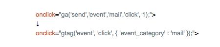 メールアドレスのクリック数の指定例